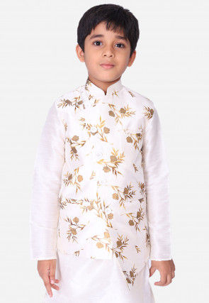 Printed Art Silk Asymmetric Nehru Jacket in White