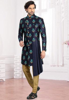 Printed Art Silk Asymmetric Sherwani in Navy Blue