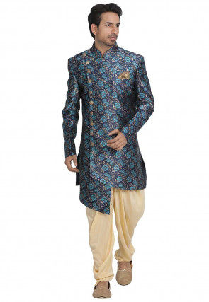 Printed Art Silk Asymmetric Sherwani in Navy Blue