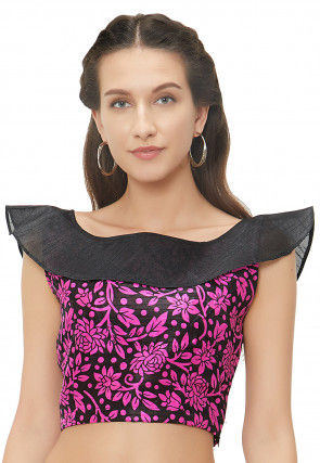 Printed Art Silk Blouse in Black and Pink