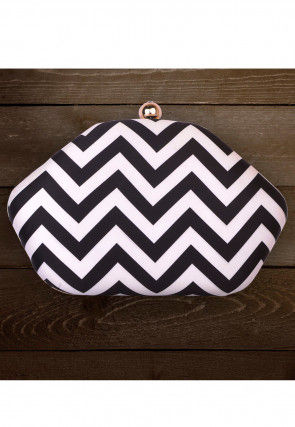 Printed Art Silk Clutch Bag in Black and White