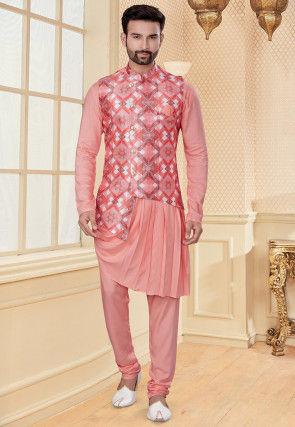 Printed Art Silk Cowl Style Kurta Jacket Set in Peach