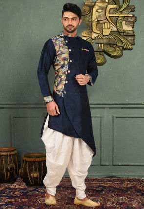 Printed Art Silk Dhoti Kurta in Navy Blue