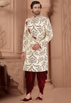 Printed Art Silk Dhoti Sherwani in Cream