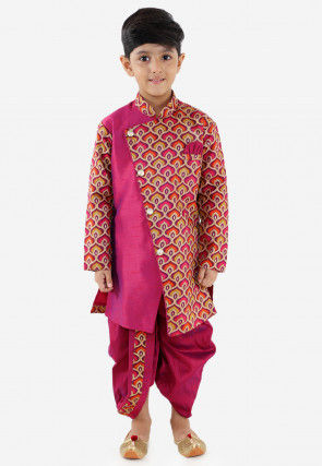 Printed Art Silk Dhoti Sherwani in Magenta