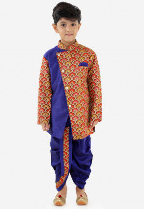 Printed Art Silk Dhoti Sherwani in Navy Blue and Multicolor