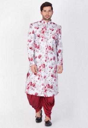 Printed Art Silk Dhoti Sherwani  in Off White