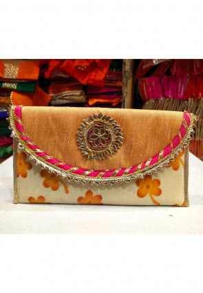 Printed Art Silk Envelope Clutch Bag in Beige and Mustard