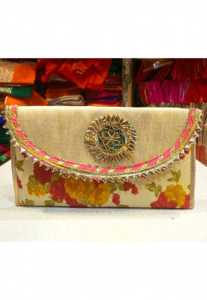 Printed Art Silk Envelope Clutch Bag in Beige