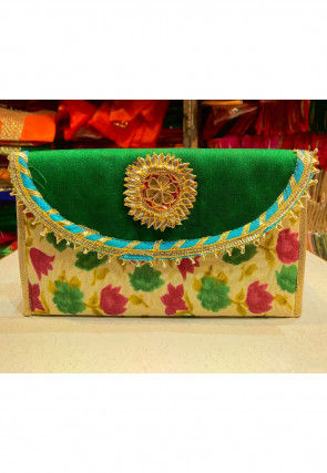 Printed Art Silk Envelope Clutch Bag in Green and Beige
