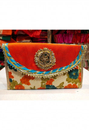 Printed Art Silk Envelope Clutch Bag in Orange and Beige