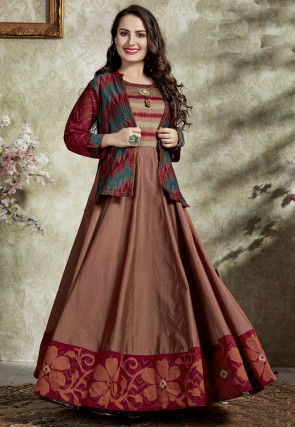 Printed Art Silk Flared Gown in Brown