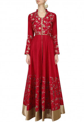 Embroidered Art Silk Front Slit Abaya Style Suit in Red