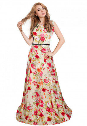 Printed Art Silk Gown in Light Beige and Red