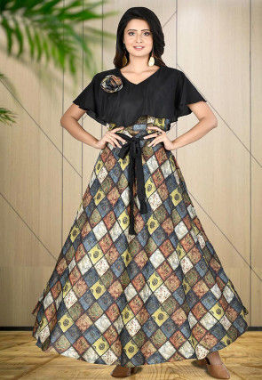 Printed Art Silk Gown in Multicolor and Black