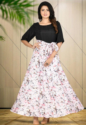 Printed Art Silk Gown in Off White and Black