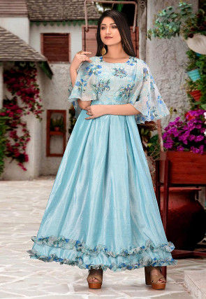 Printed Art Silk Gown in Sky Blue