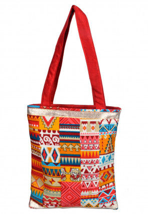 Printed Art Silk Hand Bag in Multicolor and Red