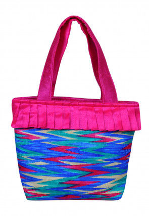 Printed Art Silk Hand Bag in Multicolor