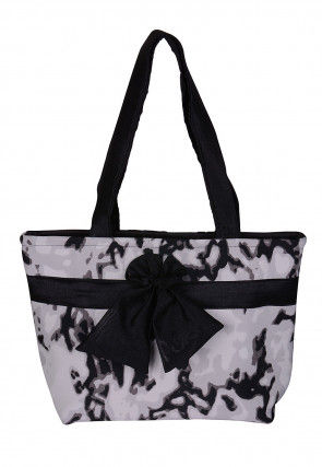 Printed Art Silk Hand Bag in Off White and Black