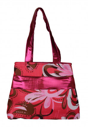 Printed Art Silk Hand Bag in Pink