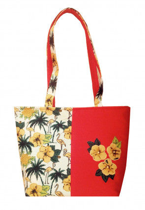 Printed Art Silk Hand Bag in Red and Off White