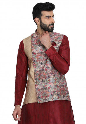Printed Art Silk Jacket in Beige and Multicolor