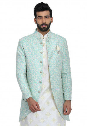 Printed Art Silk Jacket in Light Turquoise