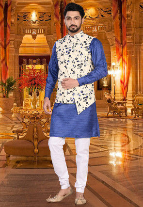 Printed Art Silk Jacquard Nehru Jacket in Off White