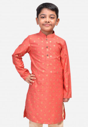 Printed Art Silk Kurta in Dark Peach