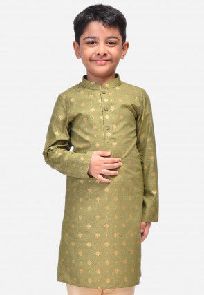 Printed Art Silk Kurta in Dusty Green