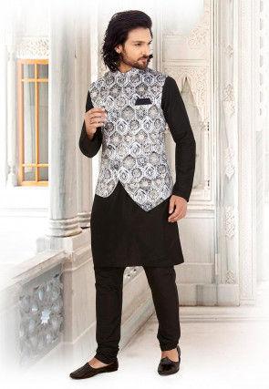Printed Art Silk Kurta Jacket Set in Black and Off White