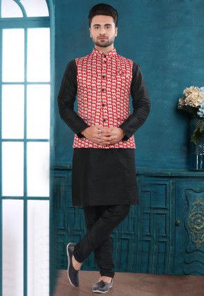 Printed Art Silk Kurta Jacket Set in Black and Red