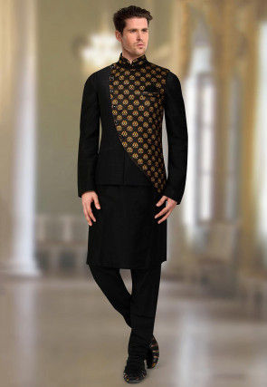 Printed Art Silk Kurta Jacket Set in Black