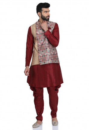 Printed Art Silk Kurta Jacket Set in Maroon and Beige