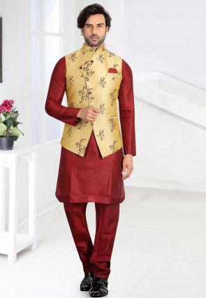 Printed Art Silk Kurta Jacket Set in Maroon and Beige