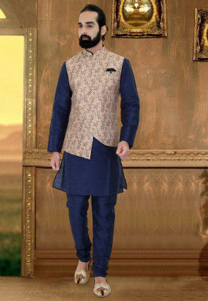 Printed Art Silk Kurta Jacket Set in Navy Blue and Peach