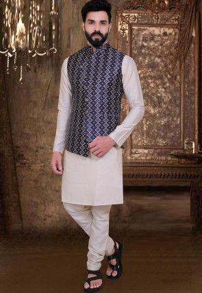 Printed Art Silk Kurta Jacket Set in Off White and Blue