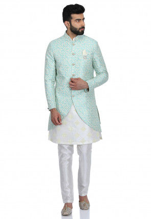 Printed Art Silk Kurta Jacket Set in Off White and Light Turquoise