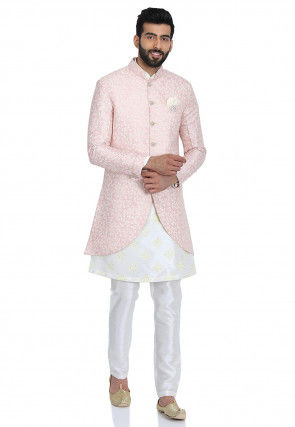 Printed Art Silk Kurta Jacket Set in Off White and Pink