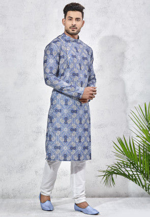 Printed Art Silk Kurta Set in Blue