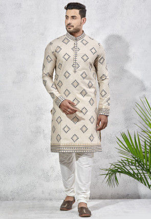 Printed Art Silk Kurta Set in Cream