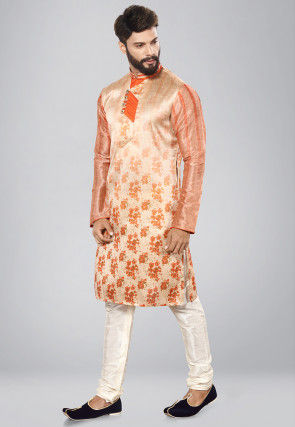 Printed Art Silk Kurta Set in Light Beige and Peach