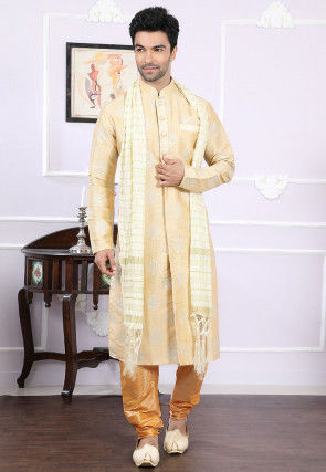 Printed Art Silk Kurta Set in Light Beige