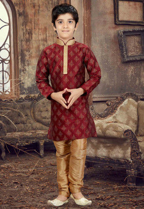 Printed Art Silk Kurta Set in Maroon
