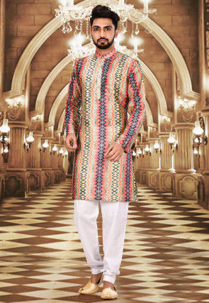 Printed Art Silk Kurta Set in Multicolour