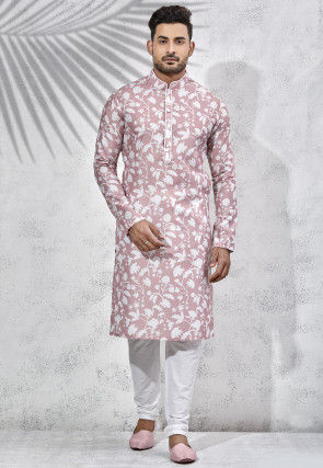 Printed Art Silk Kurta Set in Peach