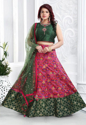 Printed Art Silk Lehenga in Fuchsia