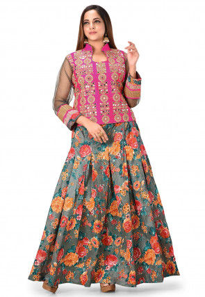 Printed Art Silk Lehenga in Grey