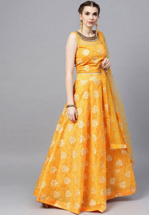 Printed Art Silk Lehenga in Mustard